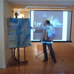 CRITIC/CURATOR BRUCE HELANDER LECTURING ON BURKHARDT ART @ THE MUSEUM OF CORAL SPRINGS, FLORIDA, MARCH, 2009